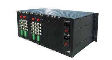 4U rack-mount chassis for video to fiber converter cards dual power