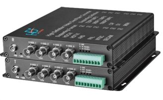 AHD/TVI/CVI to fiber converter 4-Ch video 1080P with data