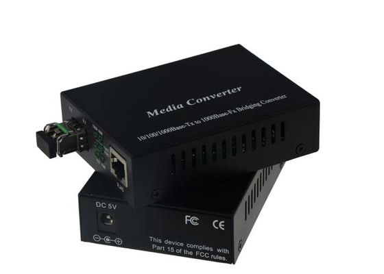 China 5VDC 1A 1000base Fx Gigabit Media Converter Single Mode GE SFP Port With LC Connector supplier