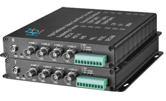 China AHD/TVI/CVI to fiber converter 4-Ch video 1080P with data distributor
